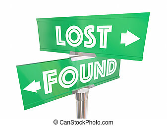 Lost and Found Find Your Way Path Route Road Signs 3d Illustration