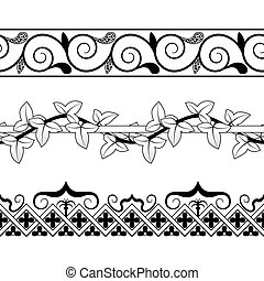 Set of vintage seamless borders. Victorian and chinese style.