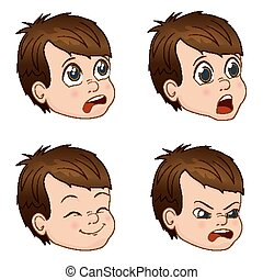Vector Illustration set of cute little boy faces showing different emotions