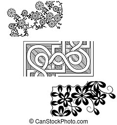 Set of vintage seamless borders Corner Elements. Victorian and chinese style.