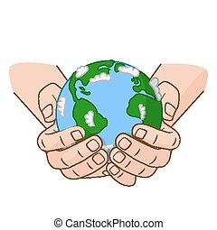 Hands is holding small Earth. Vector illustration concept on the Earth Day