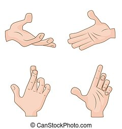 Set of vector cartoon Hands Icons for illustration concepts