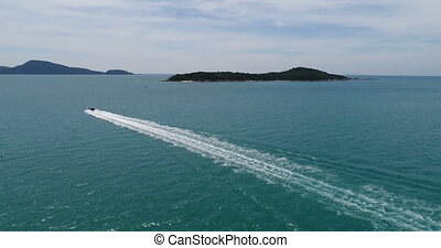 Aerial view of the Andaman sea from Rawai beach in Phuket -...