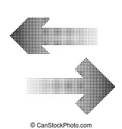 halftone arrow icon. - Dots arrows. arrow halftone...