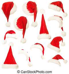 Set of Santa Hat Isolated on White Background