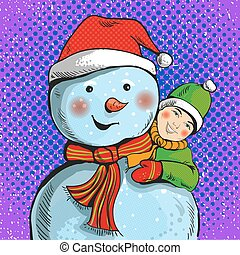 Vector illustration of snowman and boy in pop art style -...