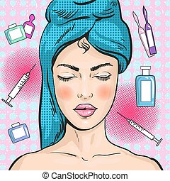 Vector illustration of woman in beauty salon, pop art style