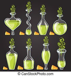 Set bottles of potion with magic smoke. Game design...