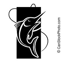 Fishing icon of fish on hook for fisherman club or fishery...