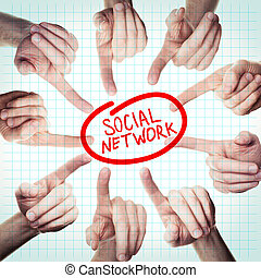 Social Network Concept with Pointing Hand