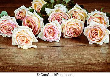 Pink Rose Flower. - Pink Rose Flower on wooden background.