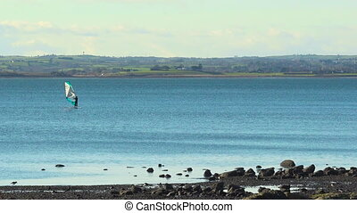 Strangford Lough, Ireland, landscape with sea, windsurf and...