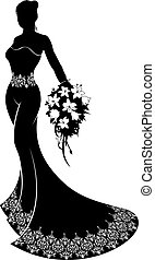 Wedding Bride Silhouette with Flowers