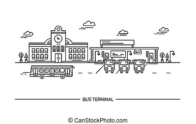 Line art bus terminal, station. illustration in flat style.