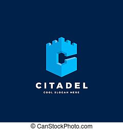 Citadel, Castle or Tower in the Form of Letter C. Abstract...