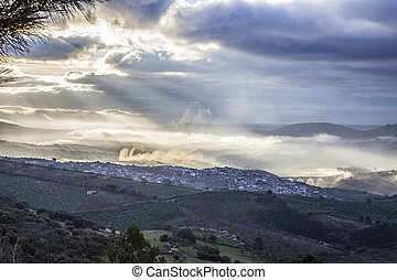 Guadalupe town at sunrise, Spain - Stunning overview of...