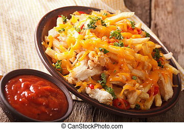 American fast food: French fries with cheddar, chili and chicken close-up on a plate. horizontal