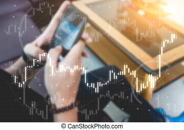 business trading concept : man trade stock and forex in smart phone