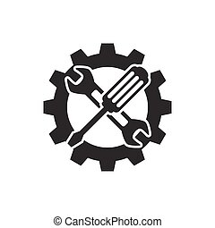 Technical support icon. Wrench croossed screwdriver symbol