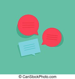Chat online vector illustration, chatting group discussion messages, internet talk
