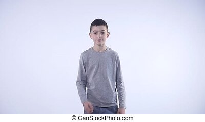 Lucky boy over white background.
