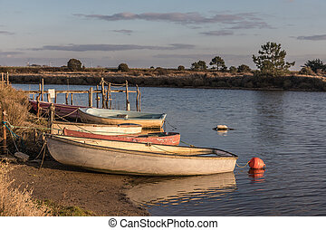 Boats on Auzance river in Brem-sur-mer, France