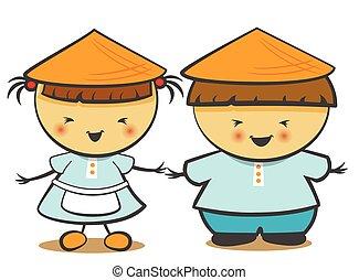 中国語, イラスト, 女の子, ベクトル, 男の子, 子供