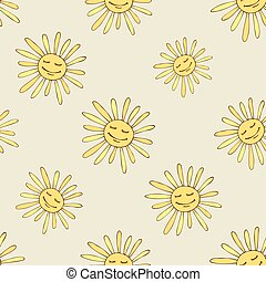 Pattern with happy sun. Sunny summer design art. Vector...