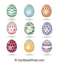 Happy easter eggs icons. Colored vector paschal egg set with...
