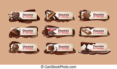 Set of chocolate banners.