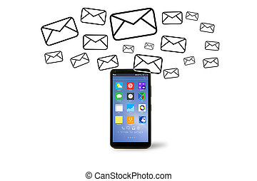 Email icons going out a smartphone - VIew of Email icons...