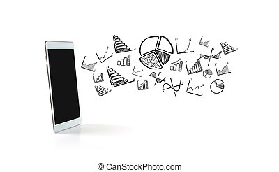 Financial and business icons going out a tablet - View of...