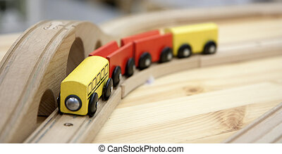 Wooden train toy - Wooden train - an old-fashioned toy