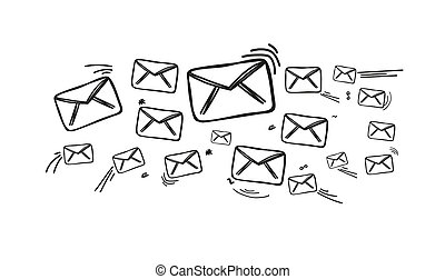 Fresco of mail hand drawn icons - View of Fresco of mail...