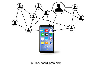 Network contact icons going out a smartphone - View of...