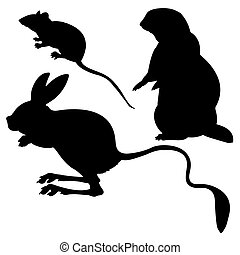 silhouettes animal on white background