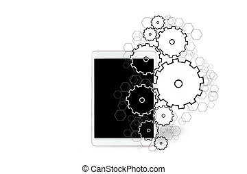 Gear wheels icons going out a tablet - View of Gear wheels...