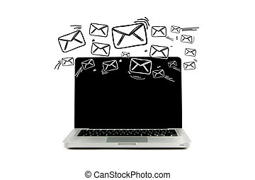 Email icons going out a computer - View of a Email icons...
