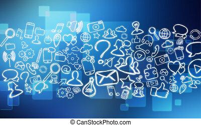 Fresco of multimedia hand drawn icons - Fresco view of...