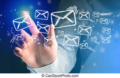 Concept of sending message with touching interface with...