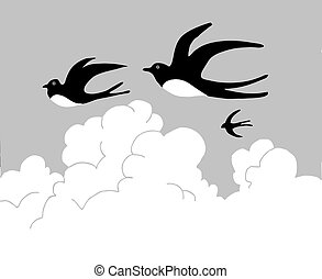vector drawing swallow flying to cloudy sky
