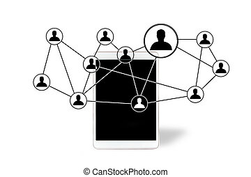 Network contact icons going out a tablet - View of Network...