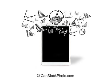 Financial and business icons going out a tablet - View of a...