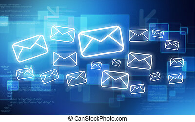 Fresco of mail icon on a tech blue background - View of a...