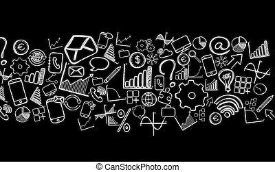 Fresco of business hand drawn icons - Fresco view of...