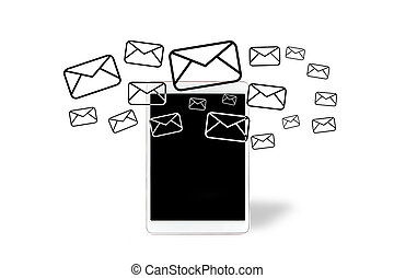 Email icons going out a tablet - View of Email icons going...