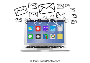 Email icons going out a computer - View of Email icons going...