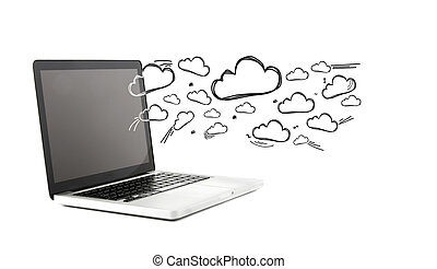 Cloud icons going out a computer - View of Cloud icons going...