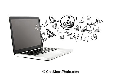 Financial and business icons going out a computer - View of...