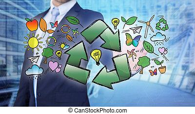 ecología, reciclaje, conmovedor, flecha, hombre de negocios,...